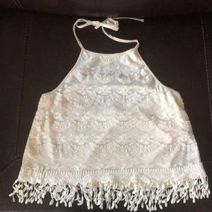 Urban Outfitters White Lace Halter Crop Top